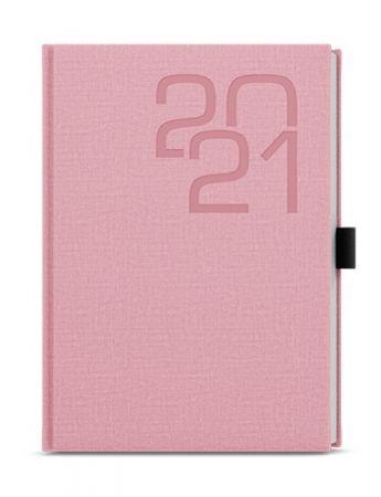 Diář týdenní A5 - Oskar - Fabric - růžová 2021, 20,5cm x 14,3cm / BTO27-51