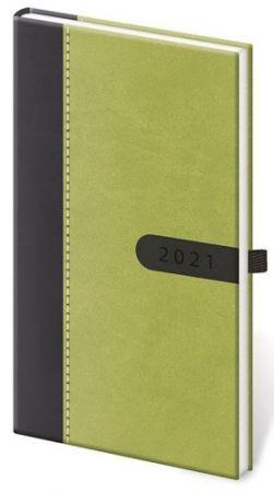 Diář kapesní Bora zeleno/černý 2021 / 8cm x 15cm / DBO426-7-21