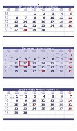 Kalendář nástěnný Tříměsíční skládaný modrý 2021 / 31,5cm x 55,5cm / N208-21