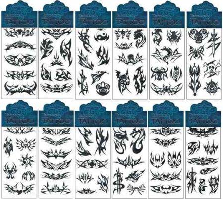 Tetovací obtisky černé 7,5 x 15 cm
