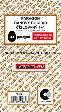 Paragon - daňový doklad číslovaný 1+1přímopropisující / PT012 / Baloušek / EET