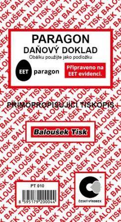 Paragon - daňový doklad přímopropisující / PT010 / Baloušek tisk / Připraveno na EET