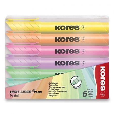 Zvýrazňovač Kores High Liner Pastel sada 6 barev