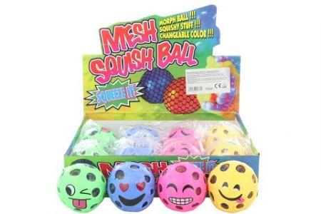Antistresový míček s obličejem 12/bal