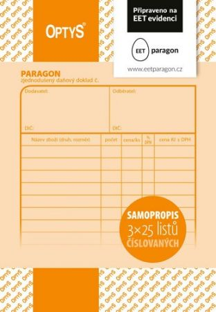 Paragon A6, číslovaný, samopropisovací, 3 x 25 listů OPTYS / Připraveno na EET