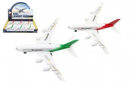 Letadlo kov/plast 19cm na baterie se světlem se zvukem na zpětné natažení