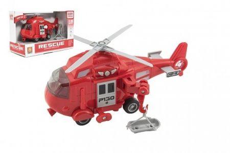 Vrtulník záchranářský plast 21cm na setrvačník na bat. se světlem se zvukem v krabici 24x1