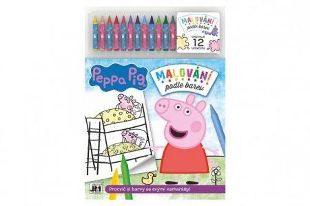 Malování podle barev Prasátko Peppa/Peppa Pig + 12 voskovek na kartě 28x39cm