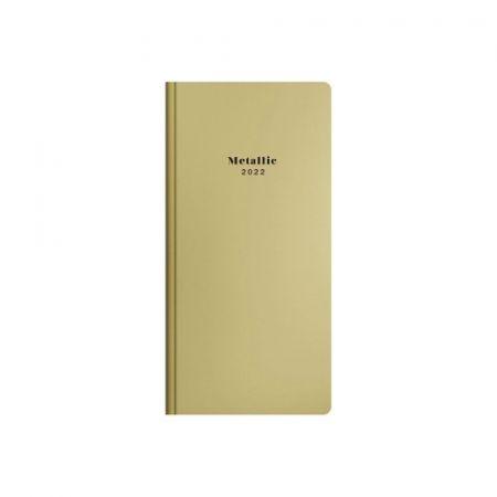 Diář týdenní PVC Metallic zlatá 2022 / 9,5cm x 16cm